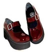 Sapato Boneca Vinho, Plataforma, Envernizado Bn-095.