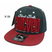 Boné Aba Reta Snapback Black Bulls Chicago Cinza Oferta K-38