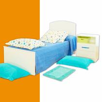 Juego Dormitorio Infantil Cama 1 Plaza Fiona + Mesa De Luz