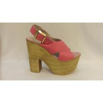Sandalia Cuero Color Rosa Con Plataforma. Marca Lola Roca