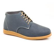 Zapato Botita Cuero Sintético Con Cordones (azul Base Maíz)
