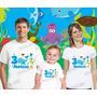 Camiseta Fundo Do Mar Aniversario Personalizadas Kit Com 3