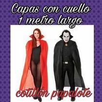 Capa Con Cuello Halloween Drácula Diabla Disfraz 1metro Larg