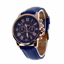 Relógio De Pulso Feminino Mulher Pulseira Azul Caixa Dourado