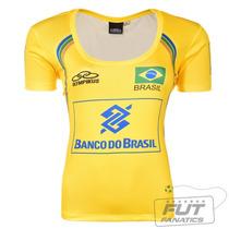 Camisa Olympikus Brasil Vôlei Cbv 2014 Feminina Amarela + Nf