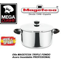 Olla Profesional 24cm Acero Inoxidable Magefesa Triple Fondo