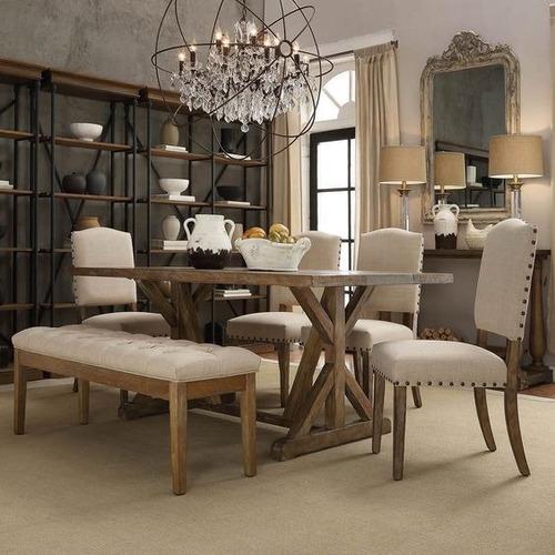Muebles Comedor Madera Gravity Vintage Gris Banca Silla ...