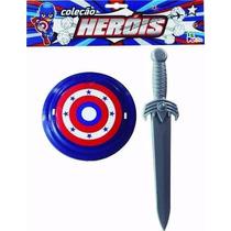 Kit Brinquedo Capitão América Menino Herói = Escudo + Espada