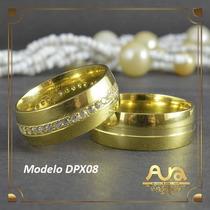 Alianças Ouro 12k 7mm Com Pedras-frete Grát- 12xs/jur Dpx08