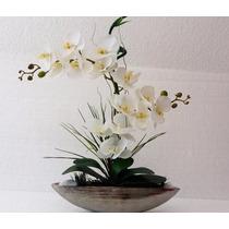 Arranjo De Orquídea De Silicone Branca, Na Porcelana Prata