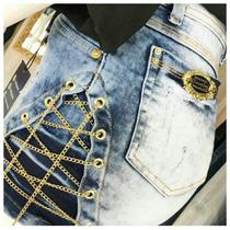 Short Jeans Cos Alto Laycra Atacado 5 Peças 36-44