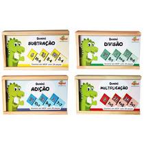 4 Dominós Em Madeira Matemática Brinquedo Pedagógico Escolar