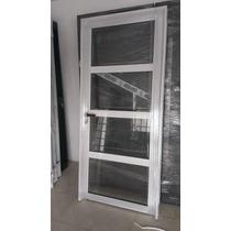 Puerta De Aluminio 80x200 Vidrios Rep Horizontal