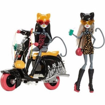 Monster High Meowlody And Purrsephone Con Scooter- Nueva