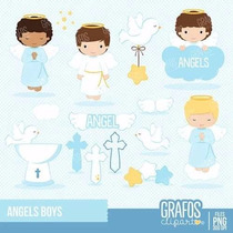 Kit Imprimible Angelitos Bautismo Nene 7 Imagenes Clipart