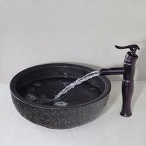 Ovalin Lavamanos De Ceramica + Grifo Monomando Oil Rubbed