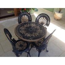 Mesa E Cadeira De Jardim Ferro Fundido Preto E Dourado