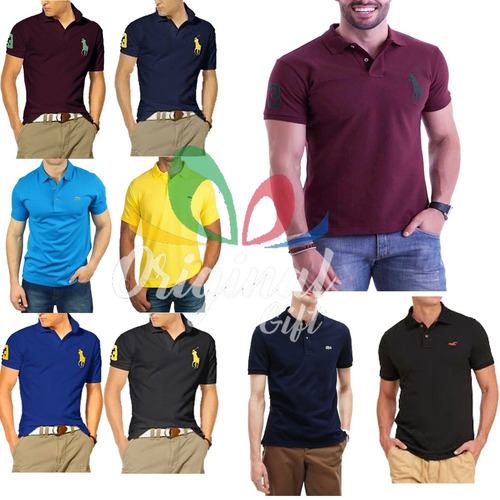 3e33a39d04 Kit 3 Camisas Gola Polo Masculina Camiseta Blusa Luxo Top - R  54