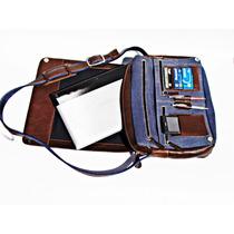 Bolsa Com Alça Tipo Carteiro Couro E Lona 7 Compartimentos