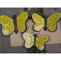 Juego De Mariposas De Vitromosaico Amarillas