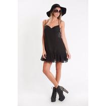 Vestido Corto Sin Espalda Amplio Negro Volados Breteles