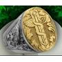 Anel Luxury Masculino Medicina Ouro18k E Prata 950