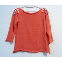 Sweater Mujer De Hilo Con Flecos Mangas Tres Cuartos