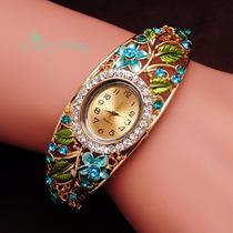 Reloj Pulsera Mujer Perlas Metal Vintage Oro Brazalete Boda