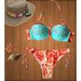 Biquini/bikini Com Bojo Florido Lançamento Verão Com Detalhe
