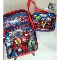 Avengers Morral Maleta C/ruedas Y Lonchera Escolar Impo Orig