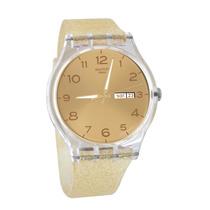 Reloj Swatch Sw Suok704 Silicona Golden Sparkley Wr30 Mts