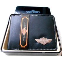 Cartera Harley Davidson Piel Genuina Estuche Metalico Lujo