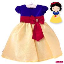Vestido Infantil Branca De Neve Festa Luxo Tamanho 1 Ao 3