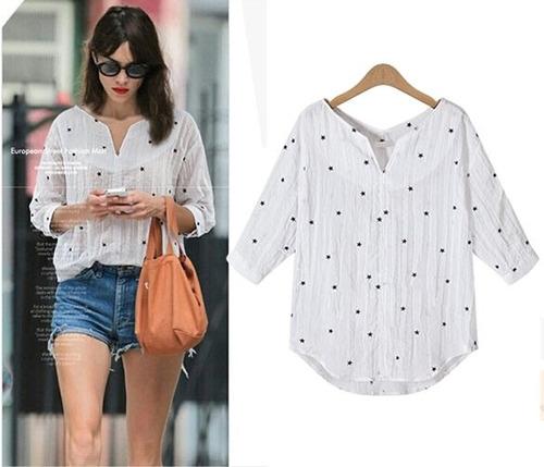 Blusa blanca con estrellitas moda 2016 en - Blusas de ultima moda ...