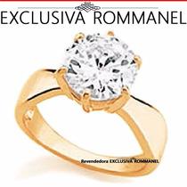 Rommanel Anel Solitario Zirconia Folheado Ouro Noiva 511261