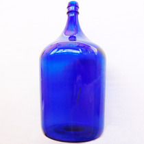 Garrafão Em Vidro Azul Antiguidade Decoração Objeto Antigo