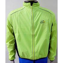 ** Jaqueta Corta Vento Tour De France Verde Neon Bem Leve **
