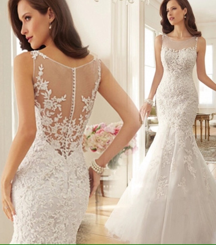 vestido de novia corte sirena,encaje bordado, delicado sutil