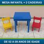 Mesa Escolar Infantil 2 Cadeiras Madeira Cru Ou Com Pintura