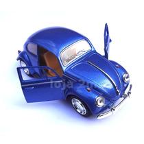 Miniatura Fusca Metal 1:32 Acende Faróis Emite Som Azul