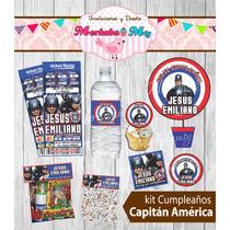 Invitaciones De Cumpleaños Kit Capitan America Imprimelo Tú!