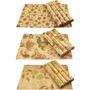 Jogo Americano De Bambu Cru / Palha Estampa Floral 4 Peças
