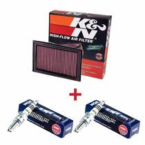 Kit Filtro De Ar K&n + Velas Iridium Ngk Ninja 250 300 Z300