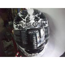 Casco Integral All Top 95 C/graficos Blanco Y Negro