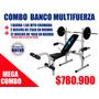 Banco Para Pesas Multifuerza Con Barra Y Discos
