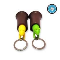 Llavero Forma Ardilla Plastico Rigido Color Amarillo Verde