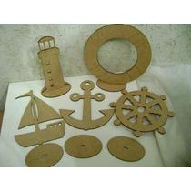 Kit 5 Pçs ( Farol,bóia,barco,ancora E Leme ) 20 Cm Mdf Laser