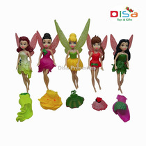 Kit 5 Bonecas Tinker Bell Disney + Roupinhas Altos Detalhes