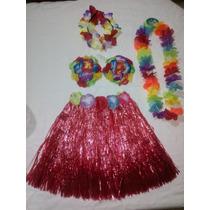 Disfraz De Niña Conjunt Hawaiana Falda+coquitos + Accesorios