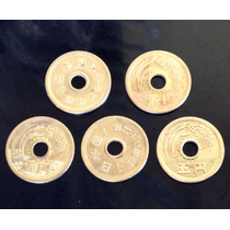 5 Moedas Da Sorte Do Japão - Furo Original - 5 Yens Dourada